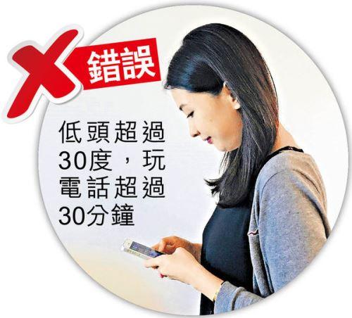 低頭長玩手機 小心變癱 專家教勿向下逾20度